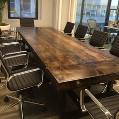 Custom Made Modern Industrial Conference Tables Walnut Work - Modern industrial conference table