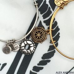 ALEX AND ANI CHARITY BY DESIGN Charm Bangles! Take the Wheel & Life Preserver! Take the Wheel supports The Herren Project and Life Preserver supports Donate Life America.