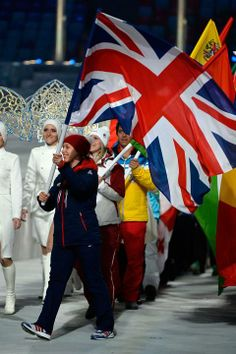 Lizzy Yarnold carrying the flag at the closing ceremony Winter Olympic Games, Winter Olympics, Lord Mayor Of London, Great Britain, Captain America, Rio, Tokyo, Superhero