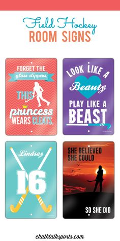 Decorate your room to show off your love for field hockey with these room signs!  Our field hockey aluminum room signs are uniquely designed and brightly colored so they will look great in any space.  Any of our room signs make great gifts for field hockey players of all ages.  Some of our room signs can even be personalized with player name and player number to create the ultimate field hockey gift that any field hockey girl will love!  Only from ChalkTalkSPORTS.com!