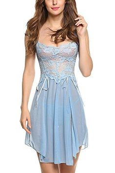 6e81acd37e Women Lingerie Forky Nightwear Mesh Babydolls Lace Chemises