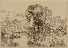 BERRY-POMEROY CASTLE - The etching before engraving