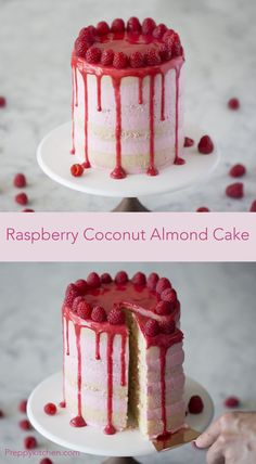 This cake has coconut, vanilla and almonds; perfectly complementing the zesty raspberry buttercream. Check out the step-by-step on the blog!