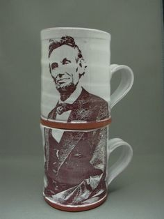 Handmade stacked Lincoln mugs by Justin Rothshank, a studio ceramic artist working in Goshen, Indiana. www.rothshank.com $84.00