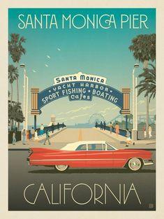 Design Group - Old school Santa Monica. - - -Anderson Design Group - Old school Santa Monica. Vintage Travel Posters, Vintage Postcards, Posters Decor, Santa Monica Pier, Monica Monica, Plakat Design, Photo Vintage, Vintage Ski, Poster Design