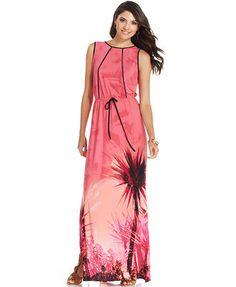 Sangria Tropical-Print Maxi Dress