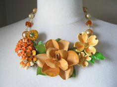 A pick-me-up for any time of year. Statement Necklace Vintage Enamel Flower by JenniferJonesJewelry, $155.00