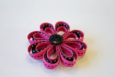 Bright Pink and Black Ribbon Flower Hair Clip
