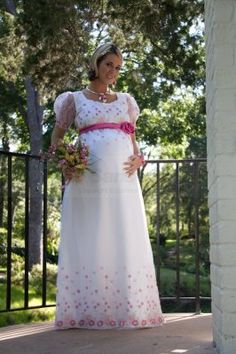 empire waist puffed sheer sleeves satin maternity wedding dress with pretty pink details