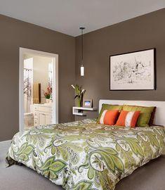 Dormitorio matrimonial en color  verde seco