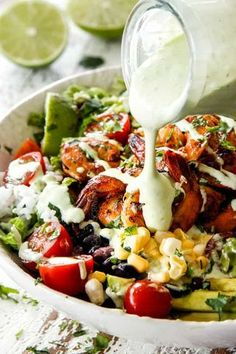 Chipotle Lime Shrimp Burrito Bowls are healthy, quick and easy and loaded with all your favorite burrito fixings including amazingly flavorful, juicy shrimp! Cilantro Dressing, Lime Dressing, Shrimp Burrito, Burrito Bowls, Burrito Casserole, All You Need Is, Clean Eating, Healthy Eating, Buttered Noodles