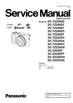 Panasonic Lumix DMC LF1 Digital Camera Service Manual and