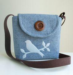 Harris Tweed Bag - Cross Body Satchel with Handmade Bird Applique Bird Applique, Wool Applique, Blue Weave, Cross Body Satchel, Wool Felt, Felted Wool, Diy Bags Purses, Structured Bag, Boho Bags