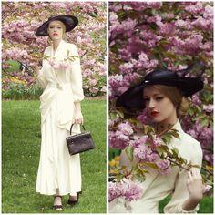 Laura 沖田   Okita - Paper Mothball Vintage Ivory 40s Gown, Zara Sandal - Vintage Cherry Blossoms