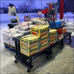 Extreme Winter Merchandising on Dunnage and Pallet Fireplace Logs, Ice Scraper, Merchandising Ideas, Used Pallets, Shovel, Umbrellas, Retail, Winter, Winter Time