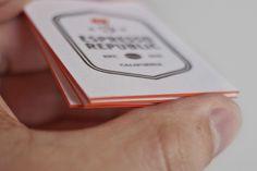 Espresso Republic letterpress business cards   Salih Kucukaga Design Studio