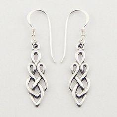 Silver earrings hook drop 925 sterling silver celtic knot dangle 35mm height PSA