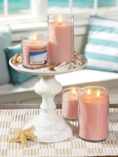 On Wednesdays we burn pink Candle Centerpieces, Wedding Centerpieces, Yankee Candle Scents, Yankee Candles, Sand Decorations, 2017 Decor, Candle Diffuser, Pink Sand, Paint Shop