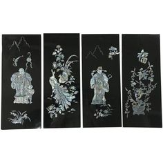 Japanese Black Lacquer Wall Art - 4 Panels (2 585 UAH) ❤ liked on Polyvore featuring home, home decor, wall art, decor, black wall art, japanese mother of pearl wall art, japanese home decor, black home accessories and japanese wall art