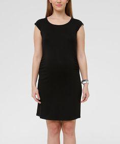 Look what I found on #zulily! Hooyo Black Maternity Cap-Sleeve Dress #zulilyfinds