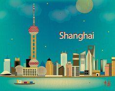 Shanghai, China Skyline - Destination Travel Wall Art Poster Print for Home, Office, and Nursery - style E8-O-SHA. $19.99, via Etsy.