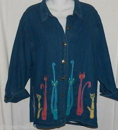 Life Style Denim Shirt Size 1X Blouse Top 3/4 Sleeves Blue Cats Jacket free shipping!