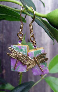 Golden Dragonfly  Mini Mah Jong Tile Earrings by klassylass, $20.00