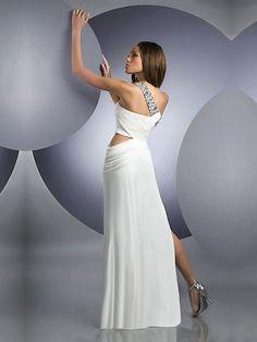 Column One Shoulder Sequin Long White Dress