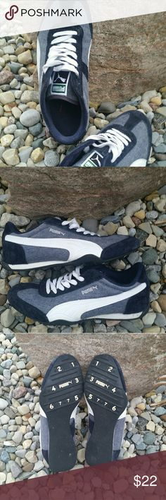 Puma sneakers Gently worn but still good condition. Navy and white nice looking. Puma Shoes Sneakers