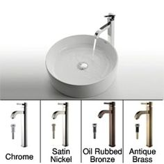 Shop for KRAUS Round Ceramic Vessel Sink in White with Ramus Faucet in Chrome. Get free delivery at Overstock.com - Your Online Home Improvement Shop! Get 5% in rewards with Club O! - 12051998 Sink In, Vessel Sink, Bathroom Faucets, Acrylic Tub, Ceramic Sink, Modern Bathroom Decor, Home Improvement, Chrome, Ceramics
