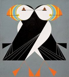 Puffins Passing by Charley Harper