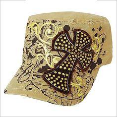 Western Kahki Cross Cowgirl Hat W/ Swirls Women Baseball Cap Rodeo Rhinestone  #Western #BaseballCap