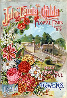 Catalog Information    Company Name:  John Lewis Childs    Catalog Title:  New, Rare & Beautiful Flowers (1890)  Publication Information:  Floral Park, NY  United States  Category(ies) of Cover Art:  Carnations  Lilies  Lily of valley  Park  Roses