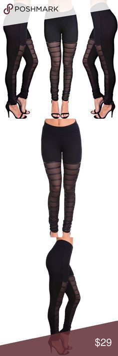 """Mesh Striped Leggings Black stretchy leggings with mesh and pu contrast stripes.  95% Rayon, 5% Spandex Wearing a size small in pictures.  Model is 5'9"""",bust 32"""",waist 23.5"""", hips 36"""" Color: Black Pants Leggings"""