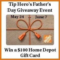 One lucky winner will be the recipient of a $100 Home Depot gift card to help get your favorite dad the perfect gift this Father's Day!