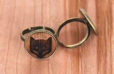 Holzohrstecker - Ring, Holzmotiv Fuchs - ein Designerstück von vanHaaf bei DaWanda