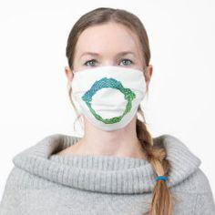 Cloth Face Mask OUROBOROS II green-blue Heart Wave, Norwegian Flag, Lesbian Pride, Flag Country, Pink Stripes, Polka Dots, Pink Glitter, Snug Fit, Sensitive Skin