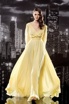 2016 V-neck Yellow Long Sleeves V-back A-line Ruched Chiffon Evening / Prom Dresses By Papi 127