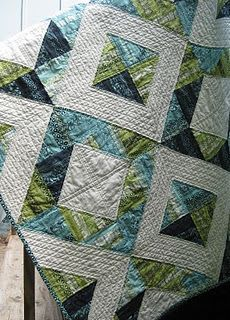 Neptune quilt -- Old pattern, but very cool effect via cool batiks and quilting design.