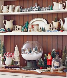snowy village hutch vignette