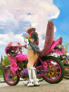 Super Bikes & Hot Girls 2019 Compilation - Stunts, Wheelie and Burnout Girl Riding Motorcycle, Women Riding Motorcycles, Motorbike Girl, Biker Girl, Kawaii, Garage Bike, Pink Bike, Trucks And Girls, Scooter Girl