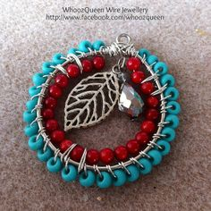 Turquoise, red and silver pendant by WhoozQueen Wire Jewellery - http://www.facebook.com/whoozqueen