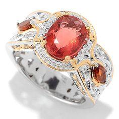 151-709 - Gems en Vogue 9 x 7mm Red Fluorite & Madeira Citrine Scrollwork Ring