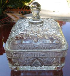 Vintage Tiara Glass Gorgeous Honey Bee Candy Dish by LindaVeeSado, $49.95