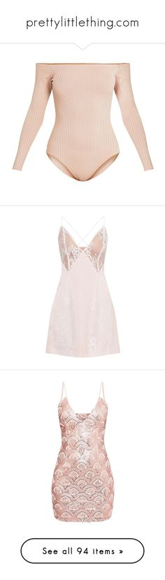 """""""prettylittlething.com"""" by carlinsaige ❤ liked on Polyvore featuring intimates, shapewear, bodysuits, tops, dresses, pink satin dress, pink lace cocktail dress, lace dress, satin cami and pink lace camisole"""