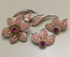 Florenza Rhinestone Flower Brooch Pin Earrings Set Sugar Enamel Pink Estate | eBay