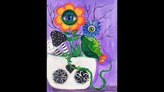 Beginner tutorial Poison Flowers Halloween floral Acrylic painting