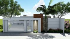 New exterior house entrance gates ideas Exterior Wall Design, Door Gate Design, Exterior Paint Colors For House, Modern Fence Design, Modern House Design, Entrance Gates, House Entrance, Cottage Front Porches, Fake Walls