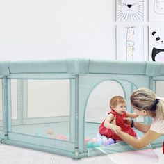 Kinbor Baby It's all about fun! The gate provides a safe space for your child to play. The portable playpen saves you and your child from staying at home! Whether at home or in the yard. The baby playpen allows your child to enjoy it. Mothers can free their hands to do their own things. Color: Green   Kinbor Baby kids Activity Center Safety Gate, Metal in Green, Size Extra Long   Wayfair Kids Activity Center, Baby Playpen, Play Yard, Outdoor Activities For Kids, Baby Safe, Summer Baby, Your Child, Gate