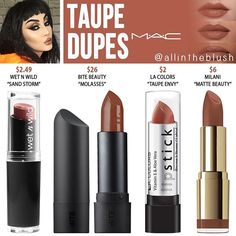 MAC Taupe Lipstick Dupes - All In The Blush - bettybence. - - MAC Taupe Lipstick Dupes – All In The Blush – bettybence. Dupes Nyx, Mac Cosmetics Lipstick, Drugstore Makeup Dupes, Beauty Dupes, Makeup Swatches, Mac Makeup, Skin Makeup, Makeup Brushes, Beauty Makeup